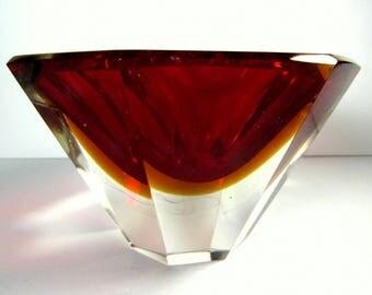 60s vintage mandruzzato sommerso italian murano faceted glass bowl red yellow | eames era danish modern decor | vintage mid century modern