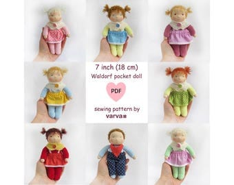 "PDF sewing pattern of a 7"" (18 cm) small waldorf pocket doll"