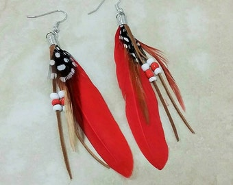 Red Feather Dangle Drop Faux Suede Beaded Earrings 4 Inches
