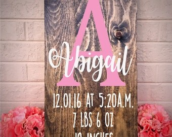 Birth Stats Sign, Newborn Baby Gift, Birth Announcement, Rustic Baby Decor, Baby Shower Gift