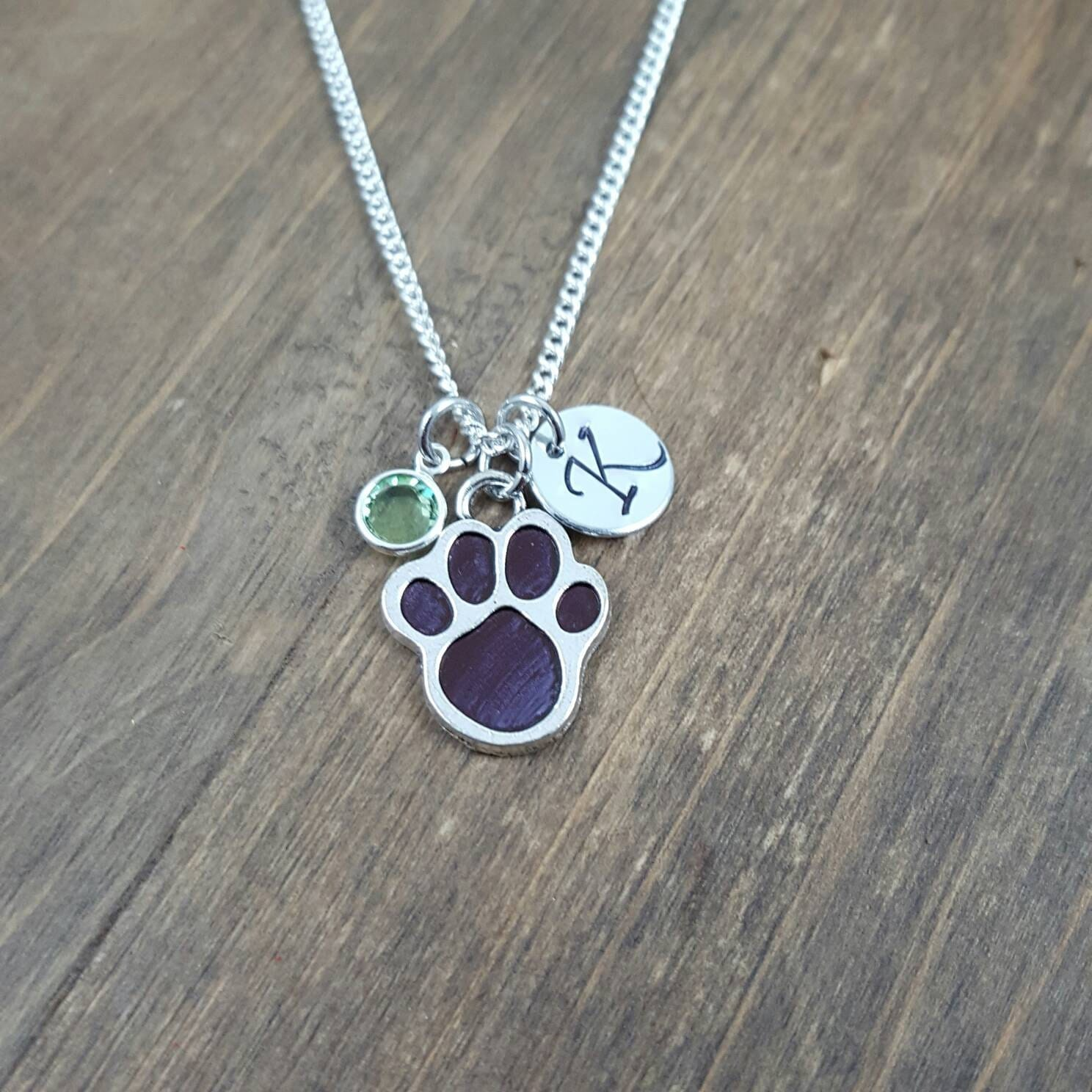 personalized paw print necklace sted monogram