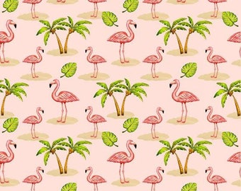 Pink Lady by Blank Quilting - Flamingos With Palm Trees Pink - Cotton Woven Fabric