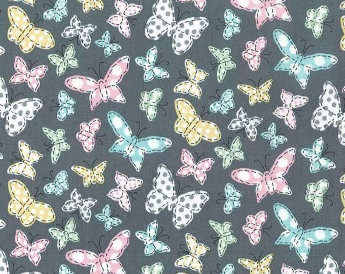 Butterfly Row by Michael Miller - Butterfly Folly Gray - Cotton Woven Fabric