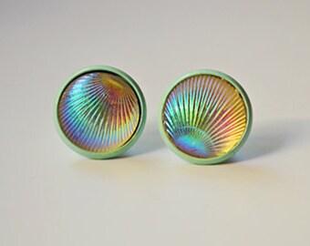 Iridescent Shell Stud Earrings - Mint Stud Earrings - Mermaid - 12MM - Shop Closing SALE
