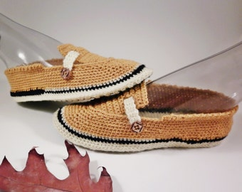 Crochet shoes, household slippers ladies, mustard slippers, soft slippers with soles, woolen slippers