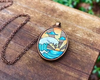 Wooden Necklace - Ocean Sunrise