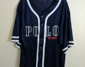 Vtg Polo Sport Bootleg Mesh Navy Blue Baseball Jersey with White Piping Oversized Baggy Sheer Ralph Lauren 1990s