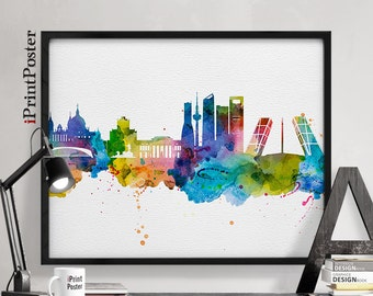 Madrid poster, Madrid, Madrid print, Spain, wall art, travel poster, city prints, watercolor skyline, fine art print home decor iPrintPoster