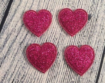 Hot Pink Hearts, Padded Hot Pink Hearts, Sparkly Heart, Set of 4 Hot Pink Hearts