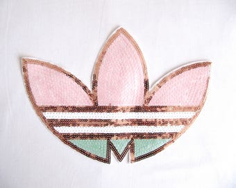 Pale Pink Brand  Patch,LARGE Brand Applique, Sew on Brand Patch ,Brand Sequin Patch,Gold Brand Patch,