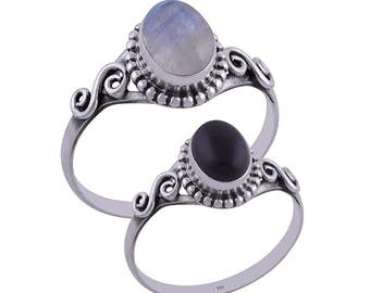 JULY moonstone and onyx rings
