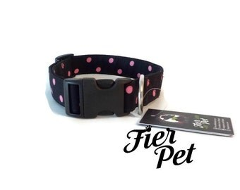 collar, black and pink, handmade dog collar, pink dot ,fier pet ,Designer dog collar,collar,adjustable collar,fier-pet