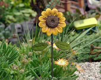 Sunflower Pick for Miniature Garden, Fairy Garden