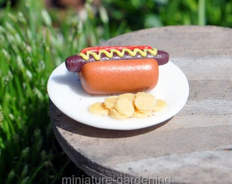 Hot Dog, Chips for Miniature Garden, Fairy Garden