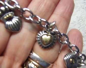 Heart Charm Bracelet in Sterling and 18k