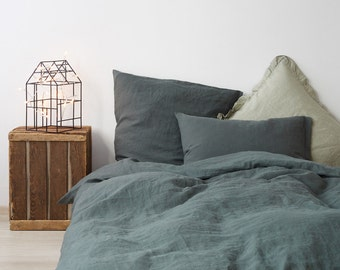 Forest Green Stone Washed Linen Duvet Cover