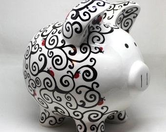 Extra Large, Swirly Piggy Bank, hand painted, ladybugs