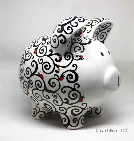Extra large swirly piggy bank hand painted ladybugs - Extra large ceramic piggy bank ...