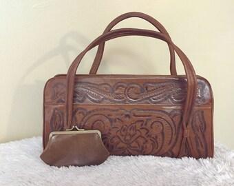 Vintage Handmade Leather Tooled Purse, Matching Coin Purse, Hippie Bohemian Gypsy Bag, Floral Design, Southwestern Purse Bag, Vintage Purse