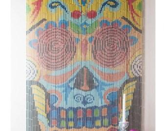 Bamboo Beaded Curtain Sugar Skull Bohemian Boho