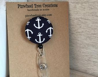 Nautical Anchor Badge Reel,  Retractable Badge Holder, Navy Anchors Fabric Swivel ID Name Holder, Student Nurse Teacher Coach Gift