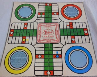 Vintage Two-sided Game Board - Pachesi / Parcheesi and Checkers - Wood Checkers
