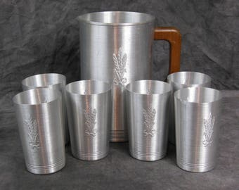 Vintage West Bend Pitcher and Six Tumblers - Spun Aluminum - Wheat Pattern