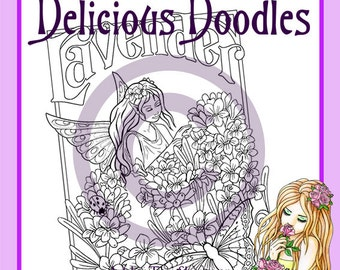 Kitchen Garden, Lavender Fairy Colouring Page, Coloring Page