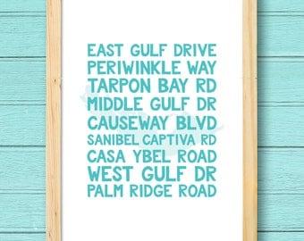 Sanibel Island Florida Street Names print
