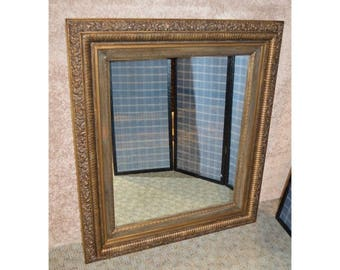 Vintage Burnished Gold Rectangular Wall Mirror