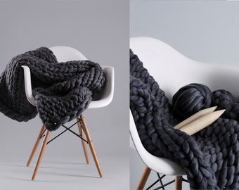 "DIY Blanket 32""x48"" . Merino wool. Hand-spun yarn. Super soft and airy. 2 inch stitch. Giant knit."
