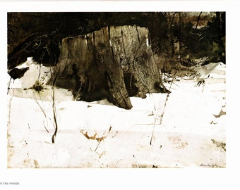 Up in the Woods and Cider Apples, large prints painted by Andrew Wyeth. The page is approx. 16 1/2 inches wide and 13 inches tall.