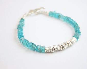 Apatite Stack Bracelet with Centre Silver Stack made with Thai Hill Tribe Silver Beads and Clasp - Beaded Apatite Bracelet
