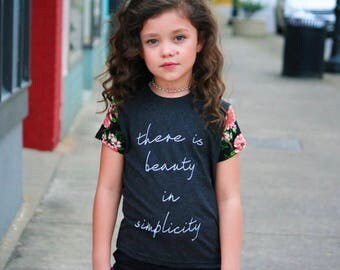 There is Beauty in Simplicity, Graphic tee, Heathereed Black with Coral and Black floral sleeves, Kids size, tween trendy tee