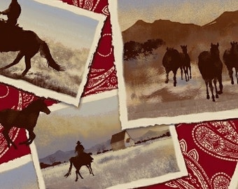 Windham Fabrics - Ranch Hands Cowboys in Red 42579-2 by Whistler Studios / Cowboys, Horses, Red Paisley, Postcards, Western Fabric