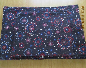 Handmade Padded PATRIOTIC Placemats  - Red, White & Blue Fireworks on Navy -Set of 6 - 2 Sizes