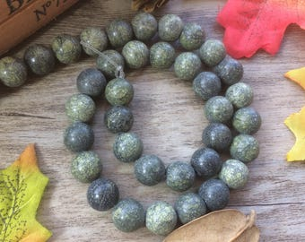 Full Strand 10mm Moss Green Charms 15 inches Natural Stone  Beads DIY Loose Beads For  Handcrafts Jewelry Findings