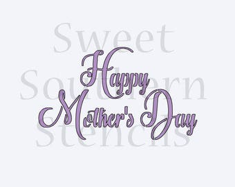 Happy Mother's Day Brush Script Cookie Stencil