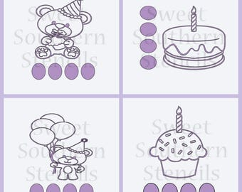 Birthday Bear PYO Cookie Stencils (4 separate stencils)
