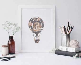Hot Air Balloon Pewter Grey Rose Gold Modern Home Decor Minimalist Wall