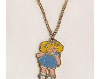 Retro 80's Cabbage Patch Pendant Necklace