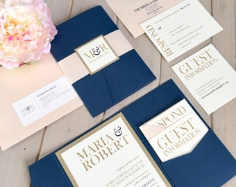 Navy, Blush and Gold Wedding Invitations, Navy and Pink Wedding Invitations, Navy and Gold Wedding Invitations