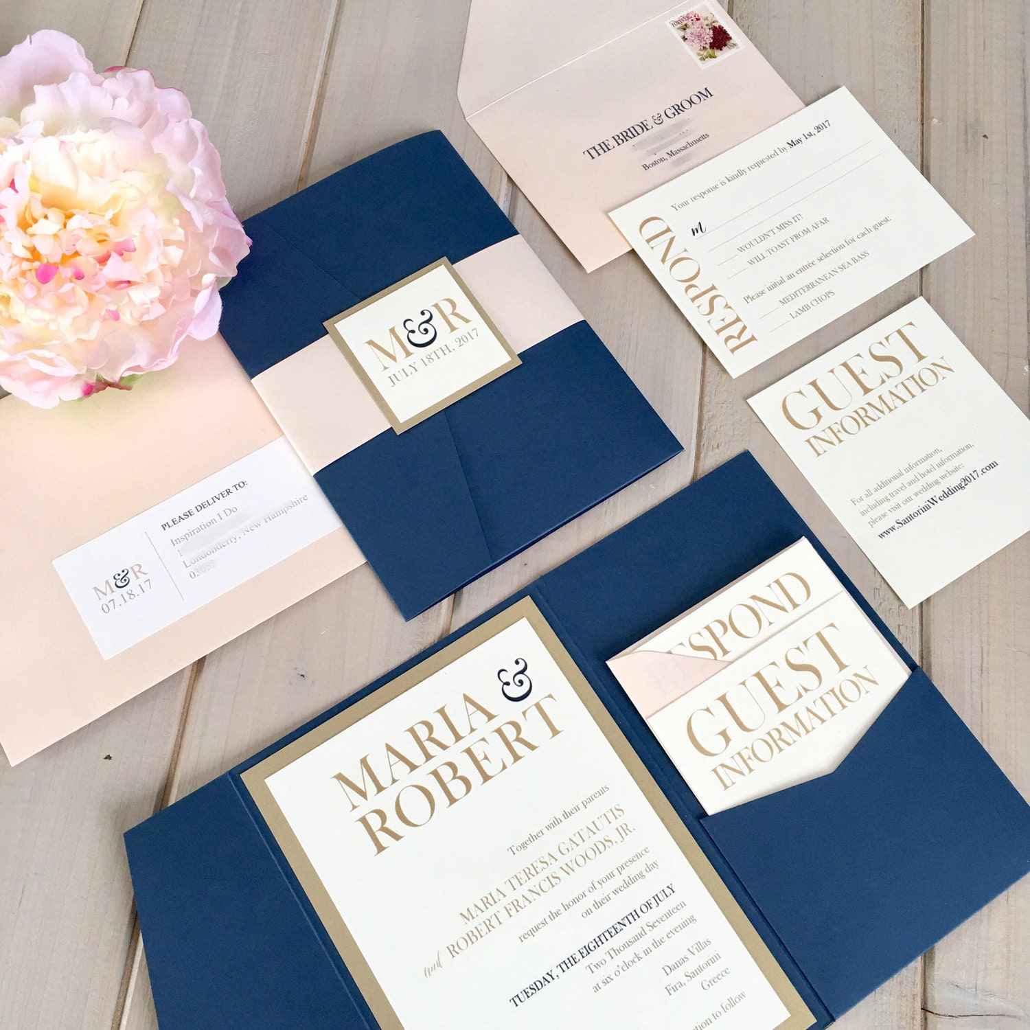 navy gold wedding | etsy, Wedding invitations
