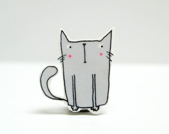 Grey Kitty Pin Badge
