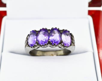 Sterling Silver & Genuine 6.00cttw Amethyst ring 5.65g