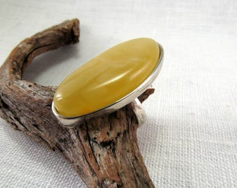 Baltic Amber Yellow Solitaire Ring 925 Sterling Silver Adjustable Ring 9,8 gram Natural Fossil Amber Gemstone