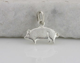 Sterling Silver Pig Necklace, Silver Piggy Necklace, Silver Farm Jewelry, Animal Jewelry,  Silver Piggy Pendant
