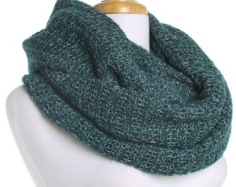 Forest Green Wool Scarf / Soft Knitted Infinity Scarf / Christmas Present / Gift for Her / Women Scarves / Circle Cowl Scarf / Mothers Day