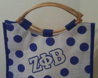 Zeta Phi Beta - Ploka Dot Jute Bag