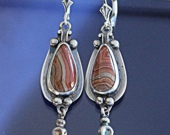 Dryhead Agate Earrings Artisan Made Sterling Silver